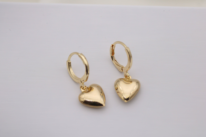 04fe8b6d71bab Heart Huggie earrings, Gold hoop earrings, Heart Hoops, Heart Charm ...