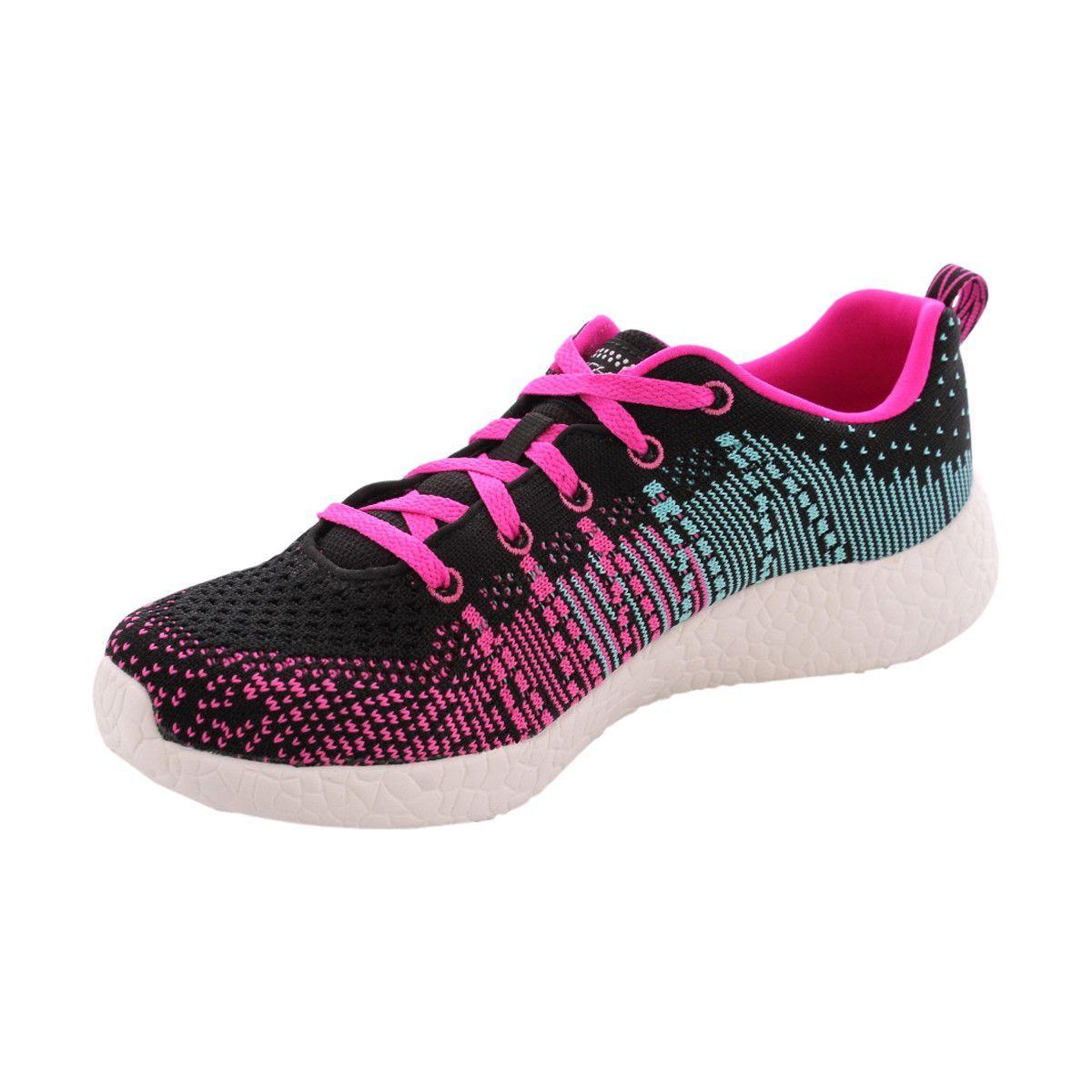 Skechers - Girl's Burst Ellipse Sneakers - Black/Pink
