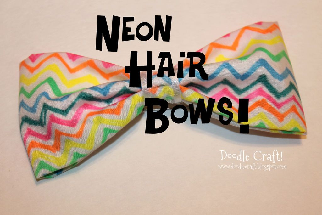 Sharpie Dyed Trendy Neon Hair Bows #fashion #accessory