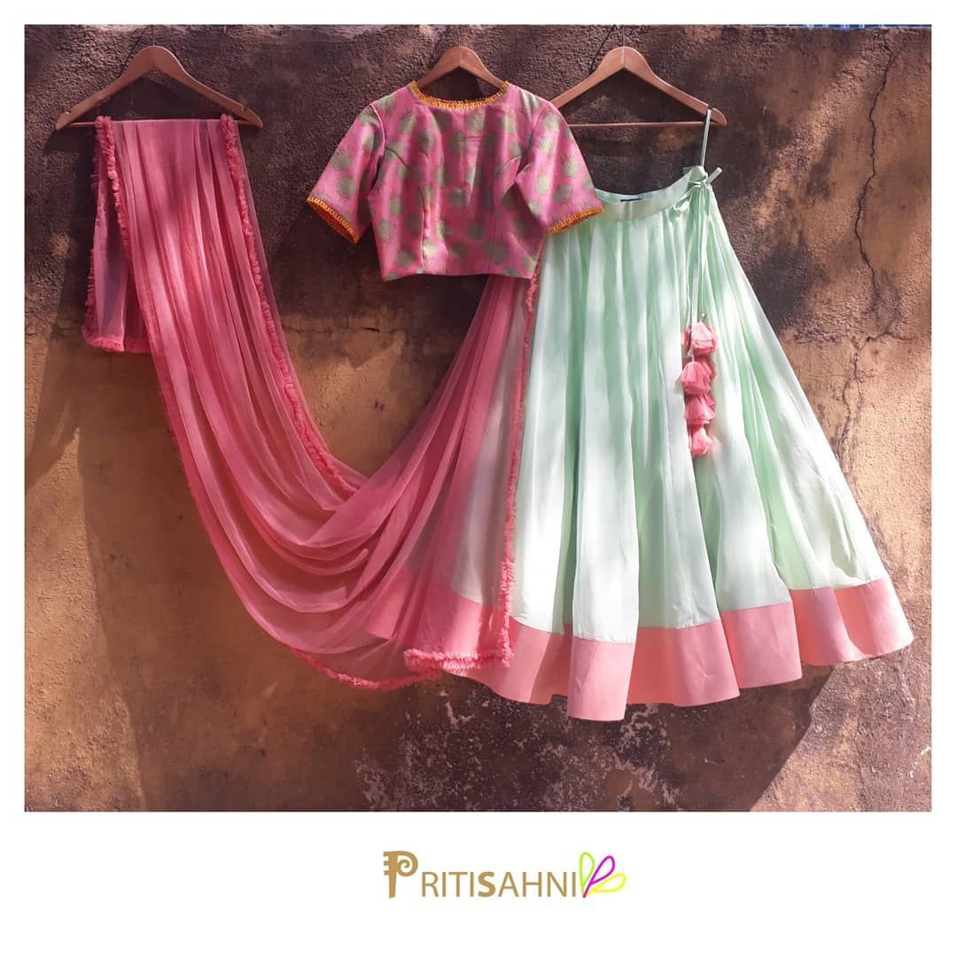 Mints and pinksthe cool combination of mint green georgette lehenga