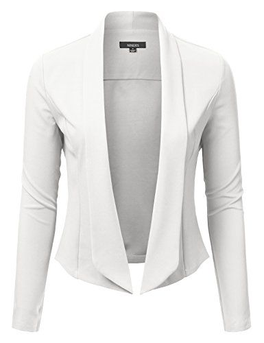 NINEXIS Womens Draped Shawl Collar Blazer WHITE L -- You can find more details by visiting the image link.