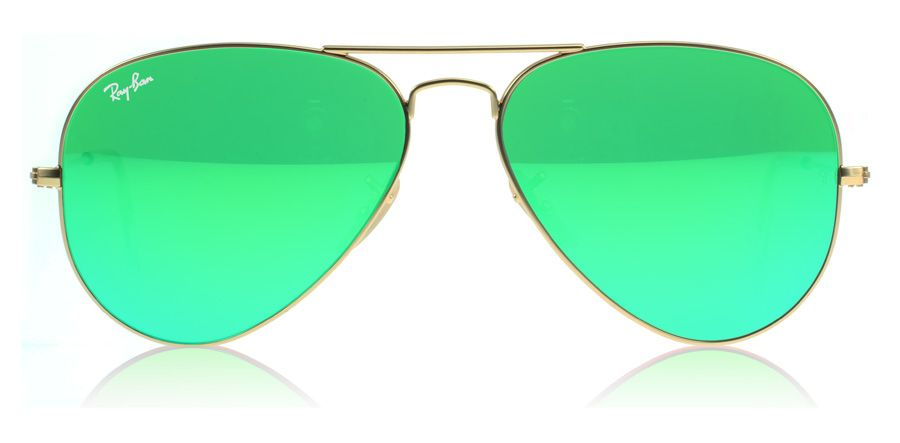 aviator lenses  Ray-Ban 3025 Aviator Sunglasses. Matte gold with mint green lenses ...
