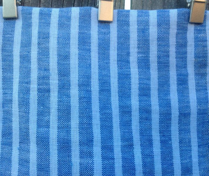 CustomLinensHandmade on Etsy: Blue Ticking Stripe Shower Curtain 72x72 72x85 72x94 72x72 Ticking Stripe linen fabric (137.00 USD)