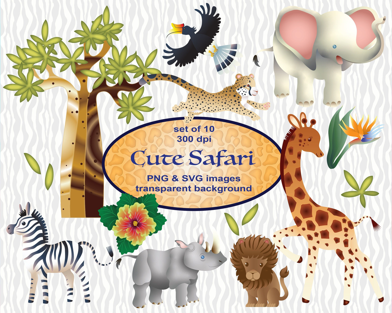 Cute Safari African Animals Clip Art Svg Clipart Educational Etsy African Animals Arts And Crafts For Kids Clip Art
