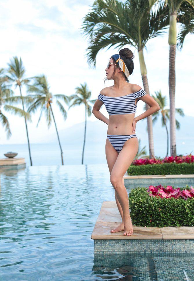 9aa437a250 striped off shoulder bikini swimsuit + pool hairstyles (tying a scarf as a  headband)