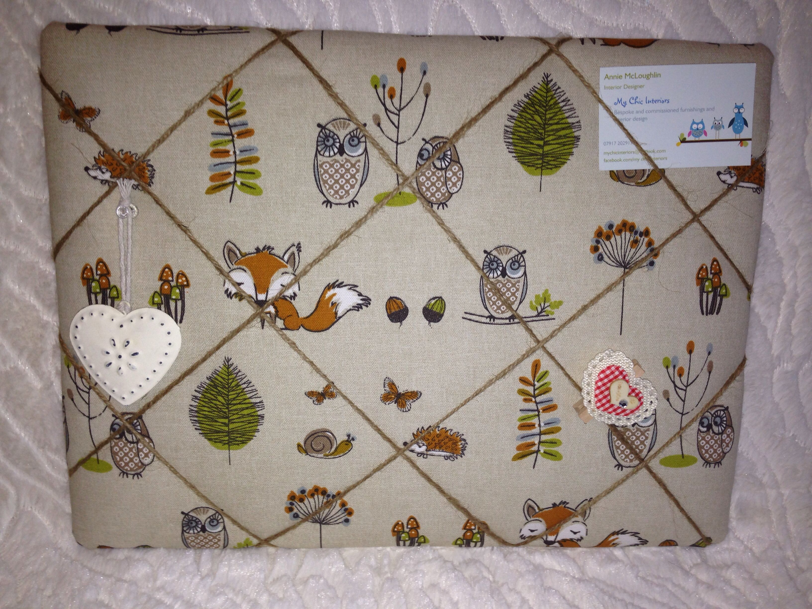 Woodland Creatures Padded Notice BoardPin BoardMemo Board