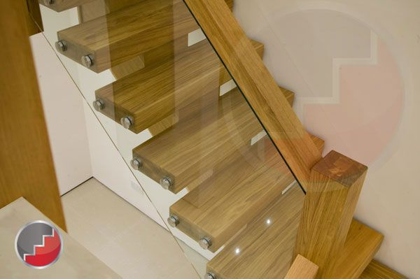 Oak Staircase With Glass Balustrade Side Mounted Brackets