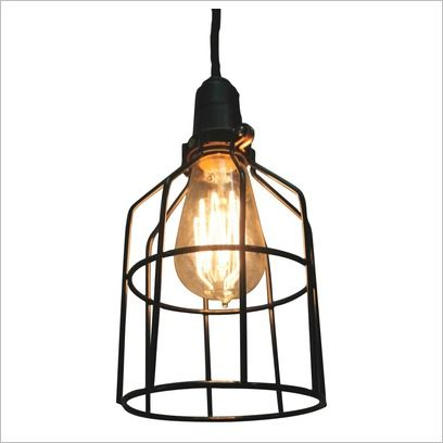 Black wire cage pendant light with black braided cord fat shack vintage wayfair