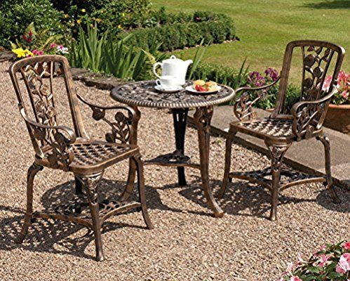 Antique Effect Rose Design 2 Seater Bistro Patio Set With Table  UV Stabilised PVC (