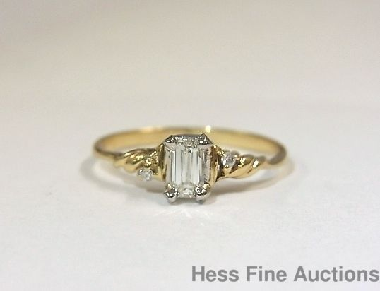 Vintage 14K Gold Ultra Fine Diamond Emerald Cut .35 tcw Engagement Ring sz 7.25 #SolitairewithAccents