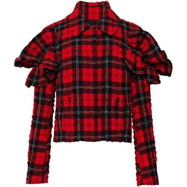 Simone Rocha Tartan Seersucker Frill Sleeve Jacket ($1,585) ❤ liked on Polyvore featuring outerwear, jackets, ruffle collar jacket, red plaid jacket, long sleeve jacket, seersucker jacket and red ruffle jacket