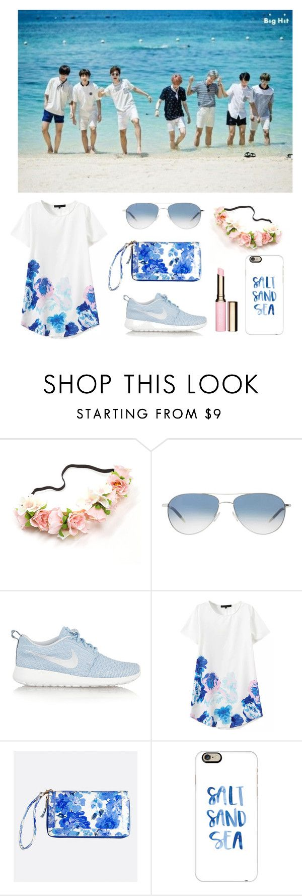 """""""Blue and Peach"""" by pear-drop ❤ liked on Polyvore featuring Oliver Peoples, NIKE, Avenue, Casetify and Clarins"""