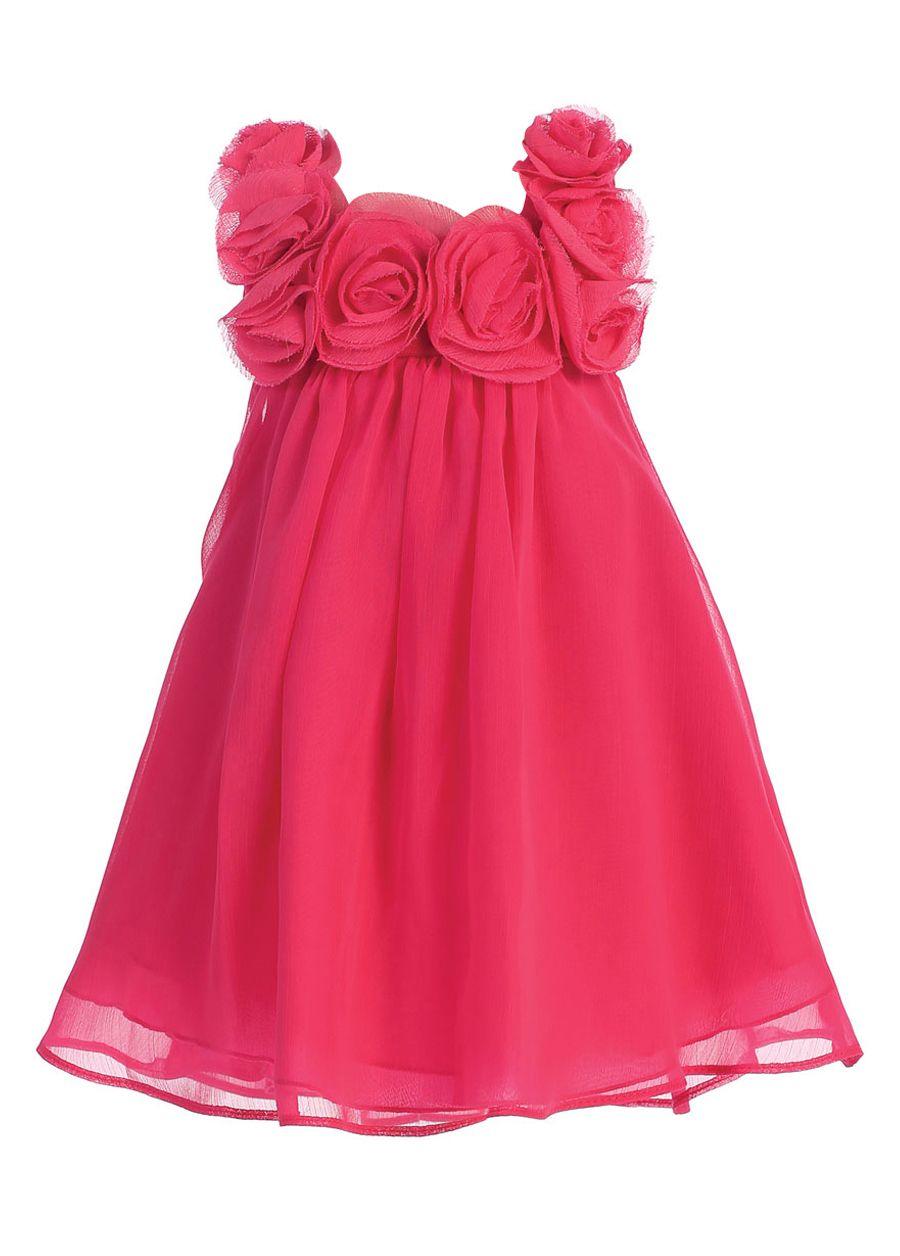 bimaro mädchen kleid leni pink rosa festkleid edler chiffon