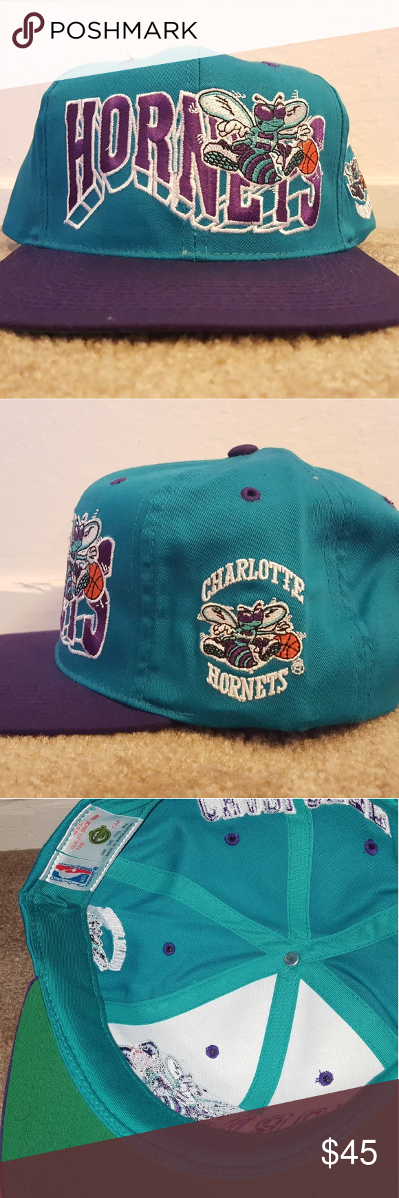 Vintage Charlotte Hornets Snapback New condition Never worn Accessories Hats ed64f84c1506