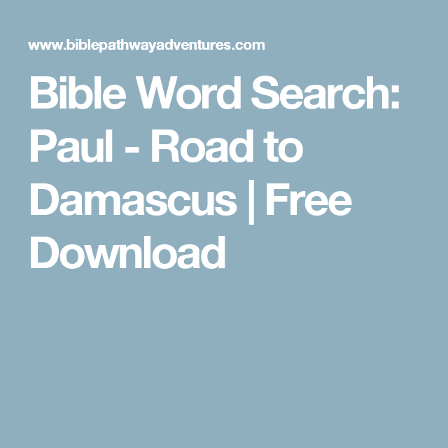 Bible Word Search: Paul - Road to Damascus | Free Download