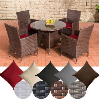Poly-Rattan Gartenmöbel Sitzgruppe SANREMO, 4 Garten-Sessel + Tisch