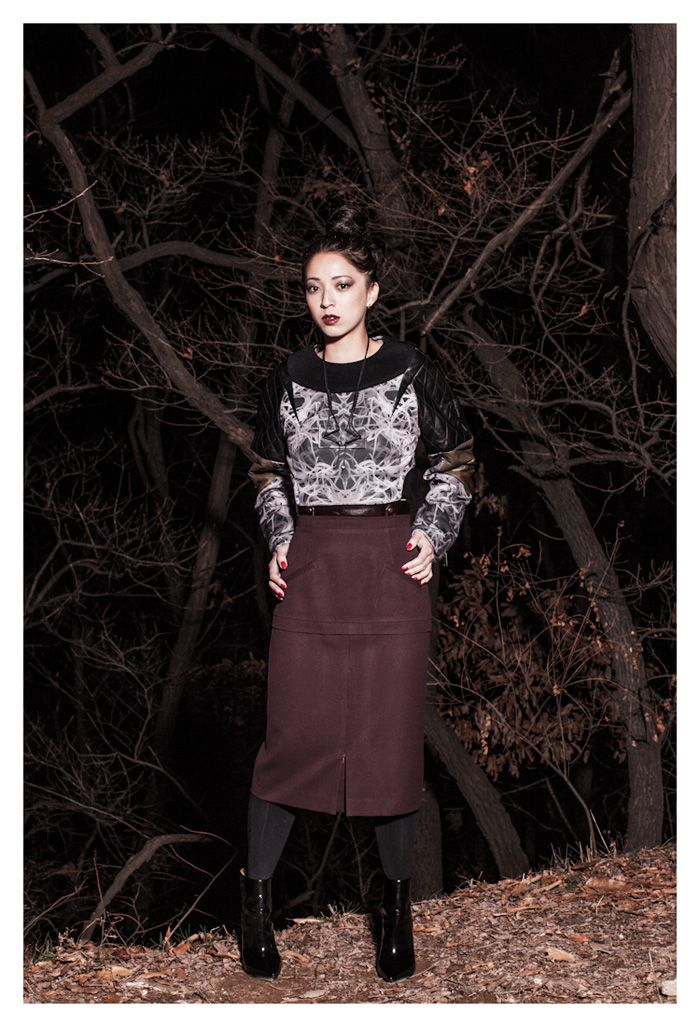 CRES. E DIM x LA MODE OUTREE  Stacey wears the FW13 printed sweaters & FW13 wine wool skirt  Plastic acryl Necklace FW13  http://lamodeoutre.com/post/47449816056/new-shoot-la-mode-outre-x-stylesophomore-x-cres-e    pictures by James Bent