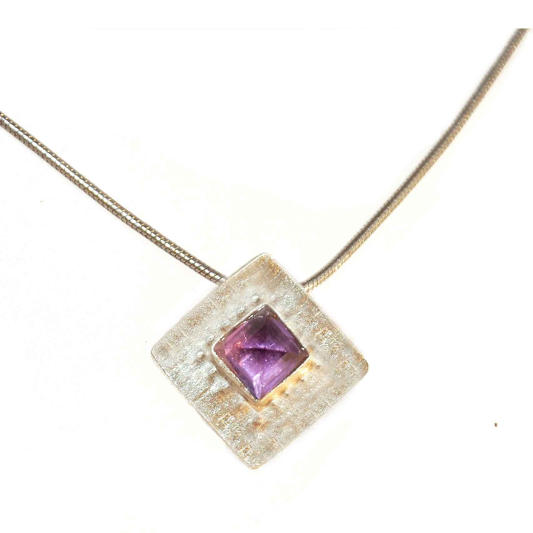 Shellie David Sterling Silver and Amethyst Necklace Artistic