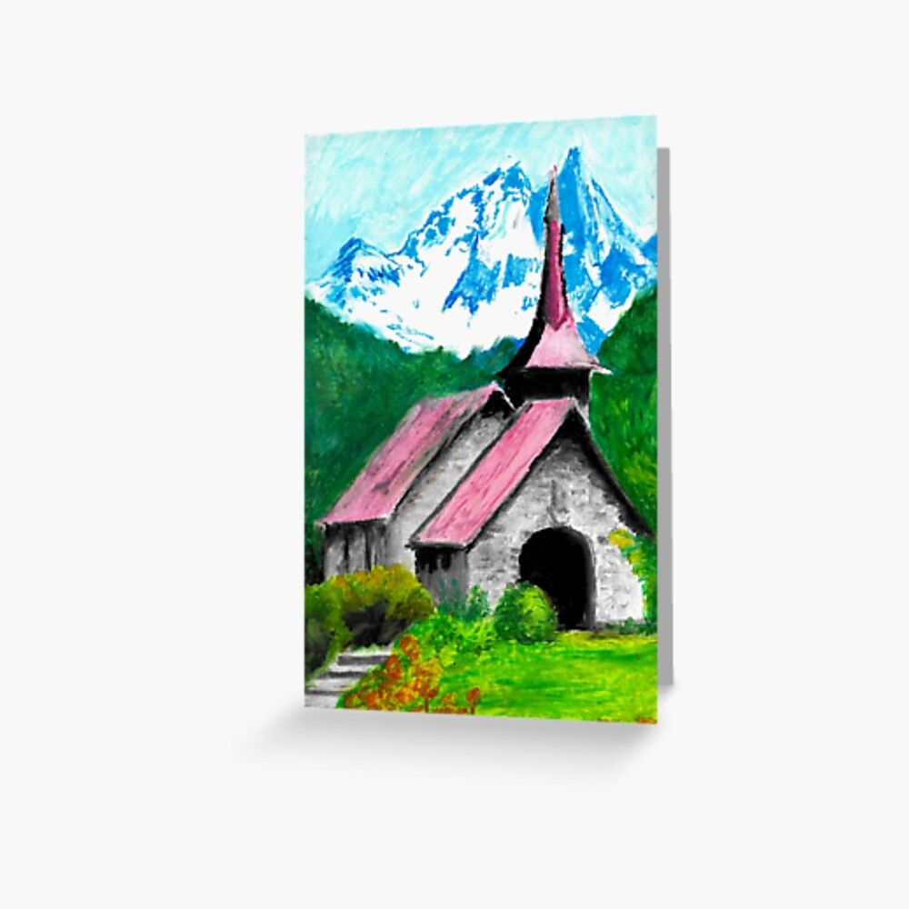 Mountains Church Greeting Card by Dave1974