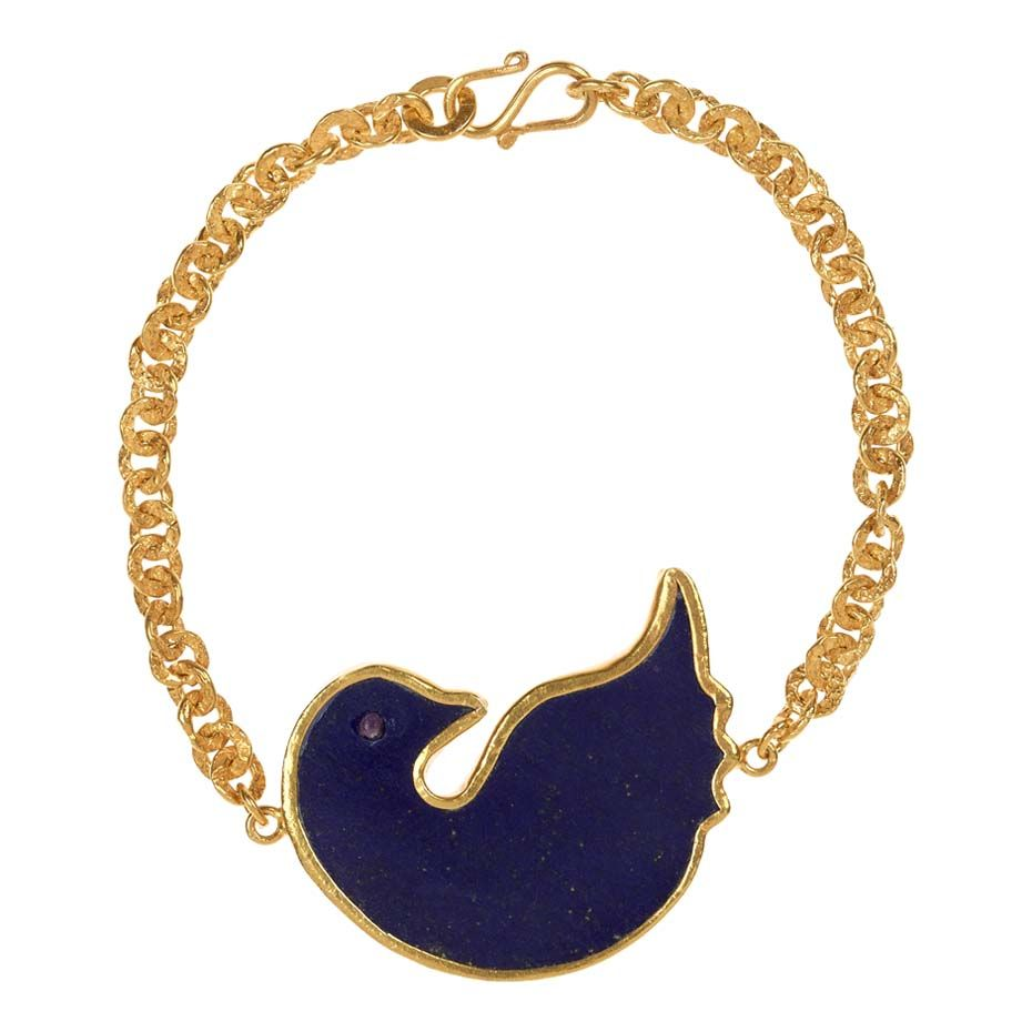 @Pippa Small Jewellery gold Turquoise Mountain bracelet includes a dove of peace in lapis lazuli