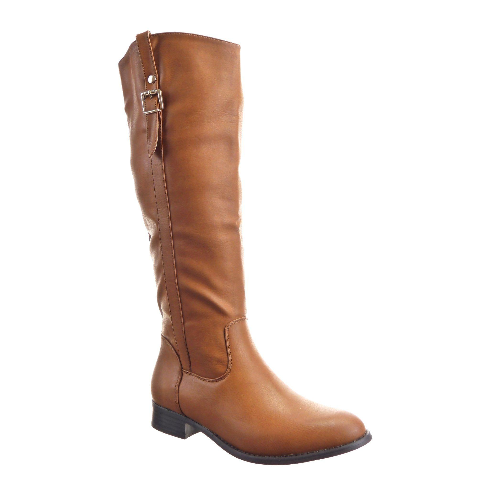 77445002fc1 Sopily - Zapatillas de Moda Botas Cavalier Rodilla mujer Hebilla Talón  Tacón ancho 3 CM - plantilla sintética - forradas en piel - Camel   Amazon.es  Zapatos ...