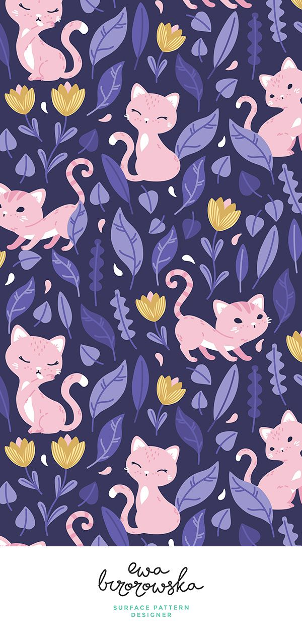 Colorful fabrics digitally printed by Spoonflower - Oh Hello Cats - violet purple pink