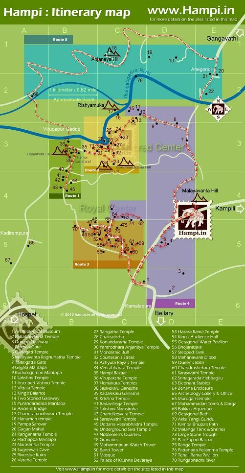 Your Hampi Itinerary, an easy map for you to follow on your trip to Hampi!