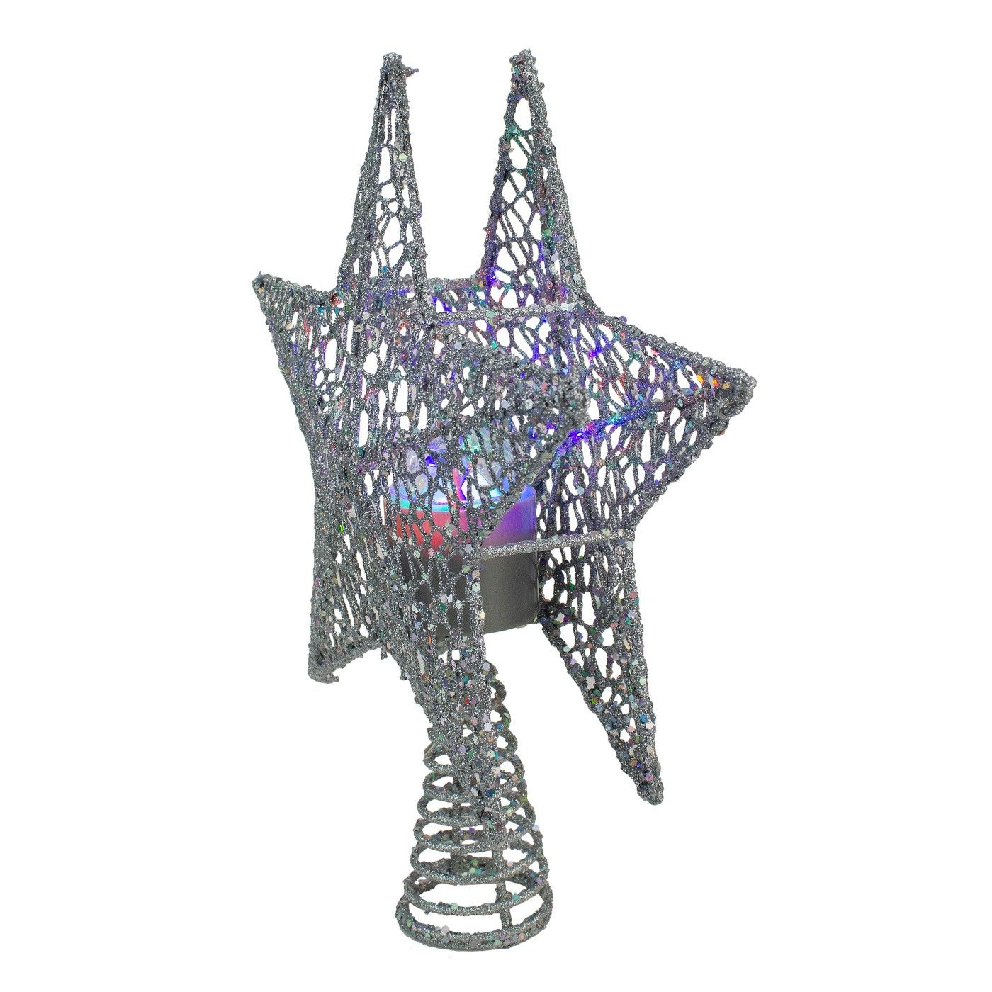 """Northlight 13"""" Lighted Silver Star with Rotating Projector"""