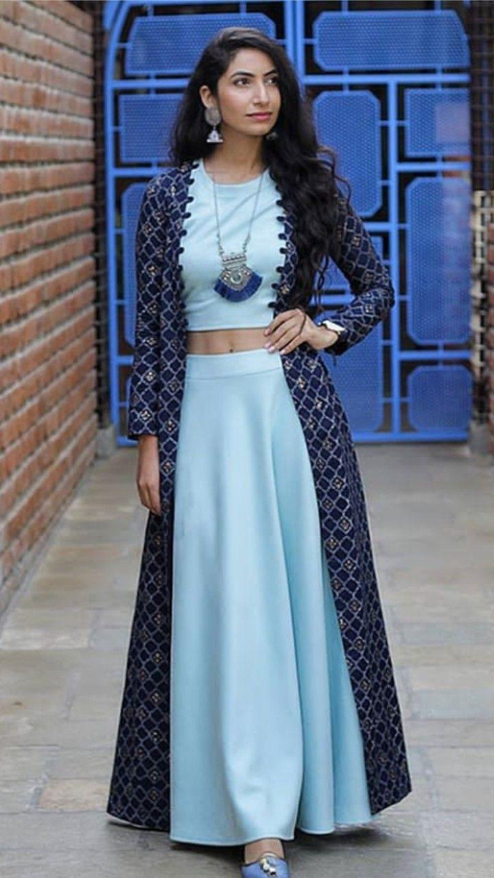 Beautiful Long Jacket with top and Plazo. #labelrishmaan #designer | Designer dresses indian ...