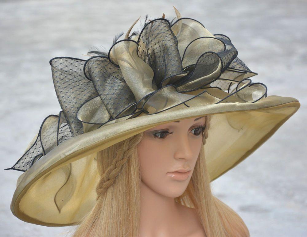 3d8bd3ce6da95 Huge Womens Kentucky Derby Wedding Ascot Church Wide Brim Dress Wedding Hat  K111 in Clothing
