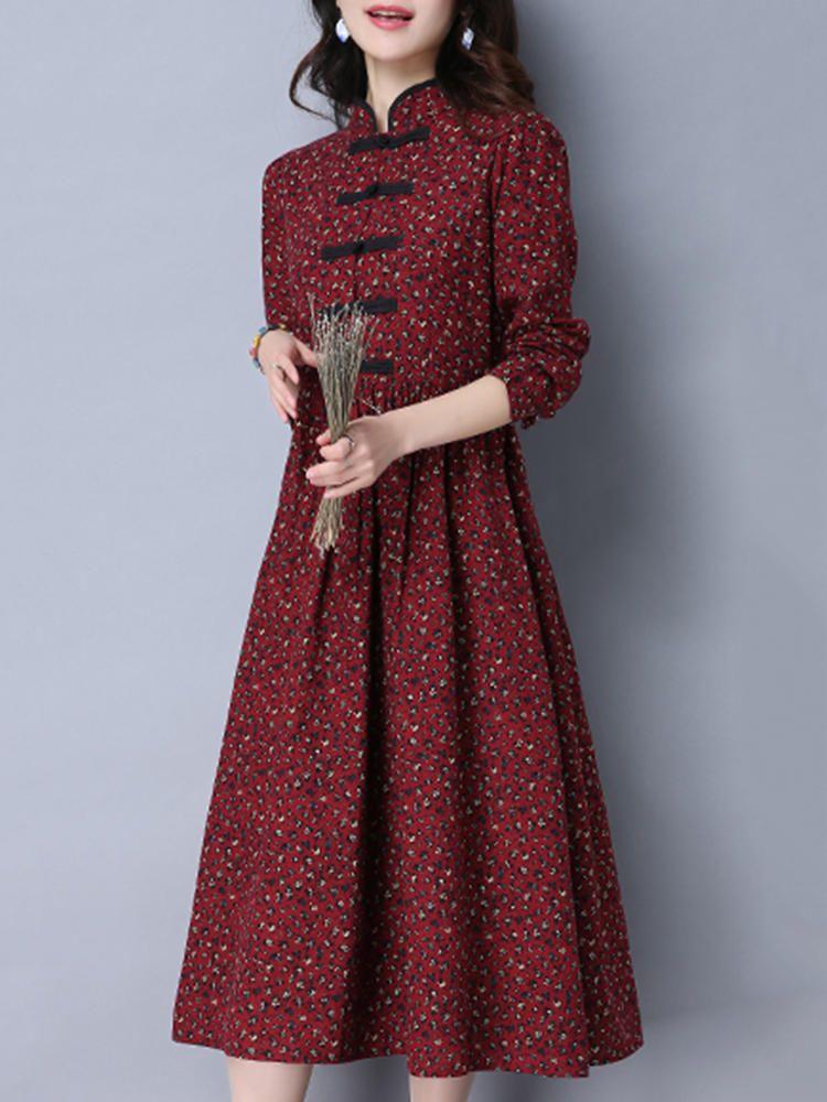 69c2dd3ca9c9d Folk Style Women Long Sleeve Frog Buttons Printed Swing Dress at Banggood