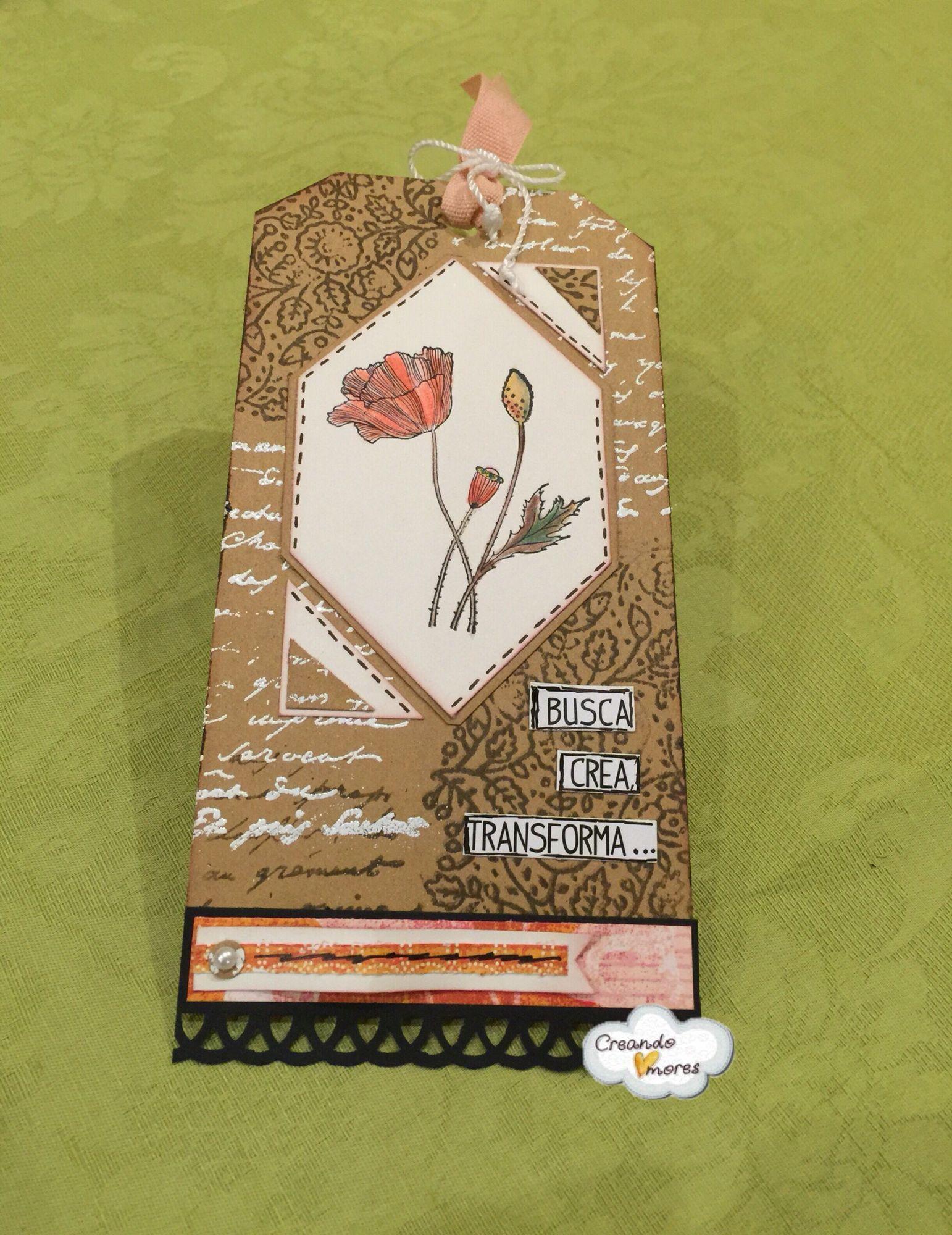 #Tag con sello de flores pintadas con #acuarelas. #CreandoAmoresLive