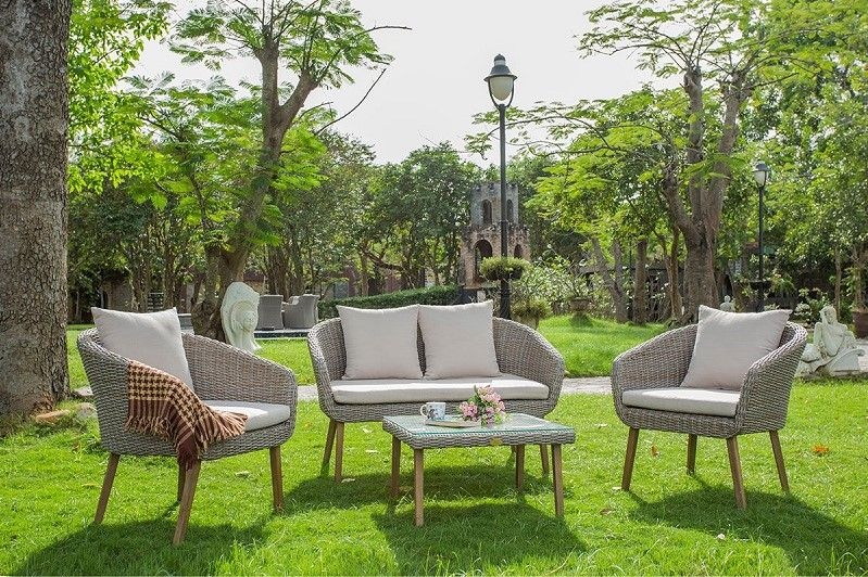 Salon de jardin Bradford Rotin Design en résine tressée beige - La - salon d angle de jardin