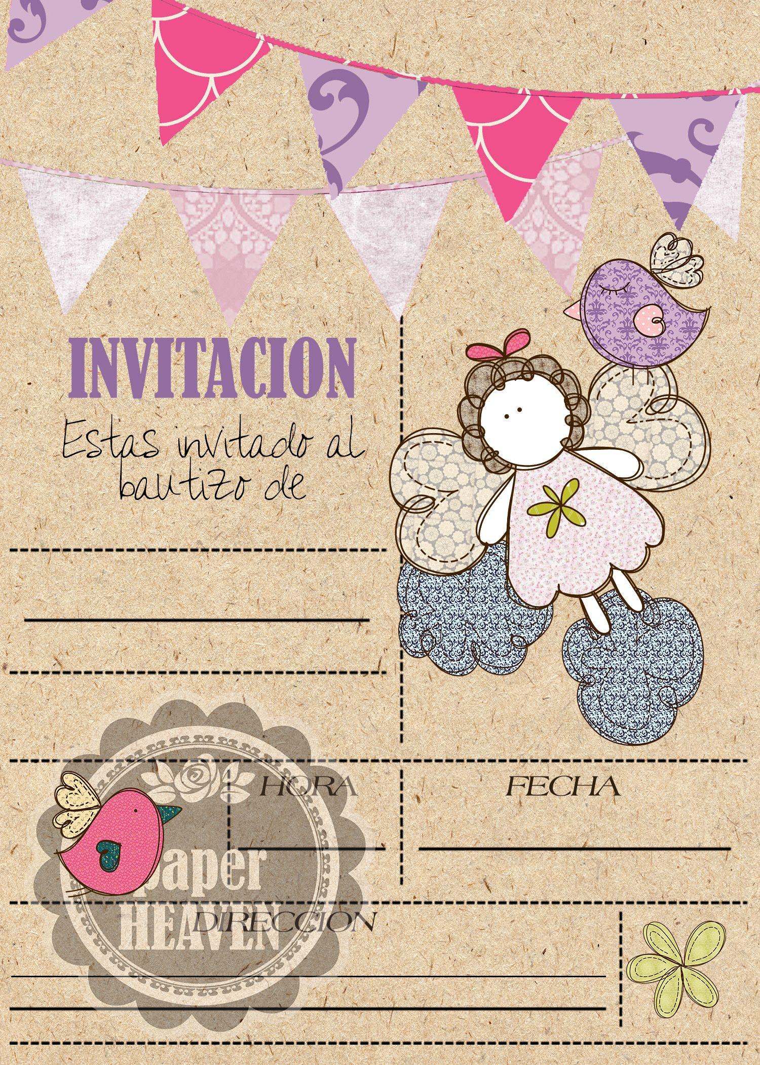 Pin De Alicia Cossio En Bautismo Invitaciones Bautizo