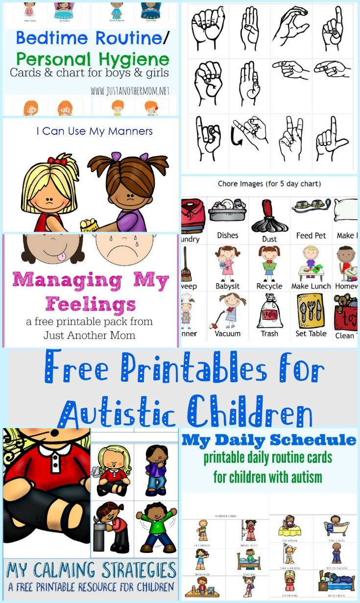 Free Printables For Autistic Children And Their Families Or Caregivers Activities For Autistic Children Autism Activities Autistic Children
