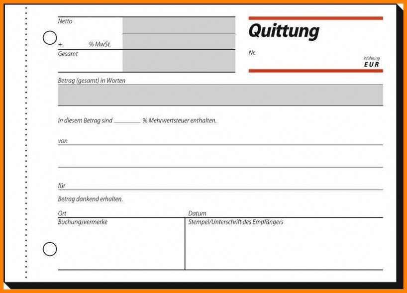 Quittung Vorlage Muster Beispiel Downloaden Kostenlos
