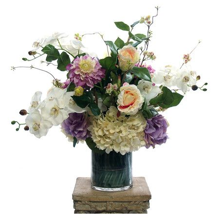 Create A Lush Tablescape Or Charming Vignette With This Lovely Floral Arrangement Featuring Faux Zinnia An Faux Floral Arrangement Orchid Arrangements Zinnias