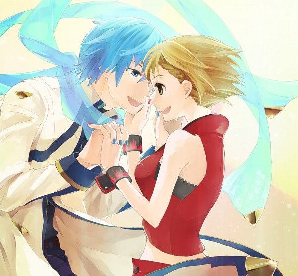 Tags: Vocaloid, KAITO, MEIKO, Blue Nails, Red Nails, Pixiv Id 432293