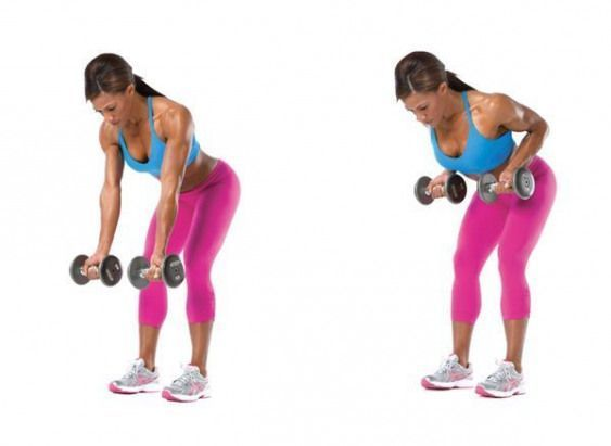 Bent-Over Two-Arm Reverse-Grip Dumbbell Row   Fitness   Pinterest    upperbody   Fitness Bent-Over T...