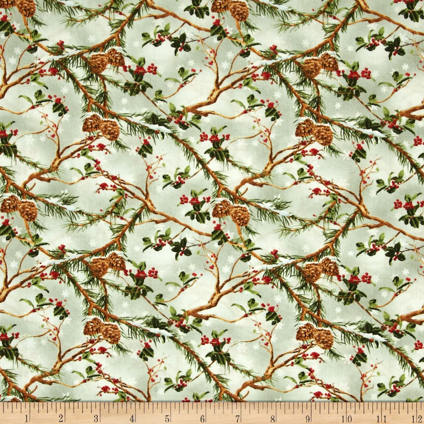 The Cardinal Rule Holly & Pinecones Pale Green Fabric