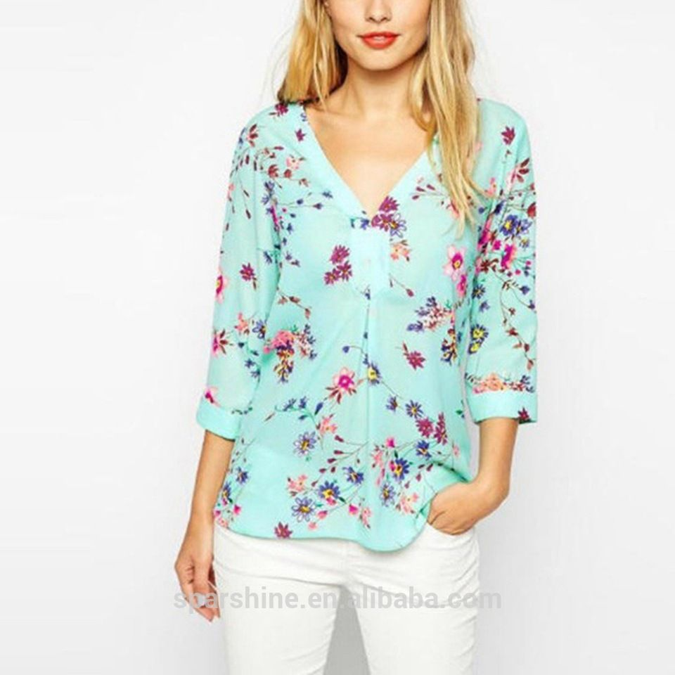 V Neck Printed Shirt 3/4 Sleeve Latest Fashion Chiffon Blouse ...