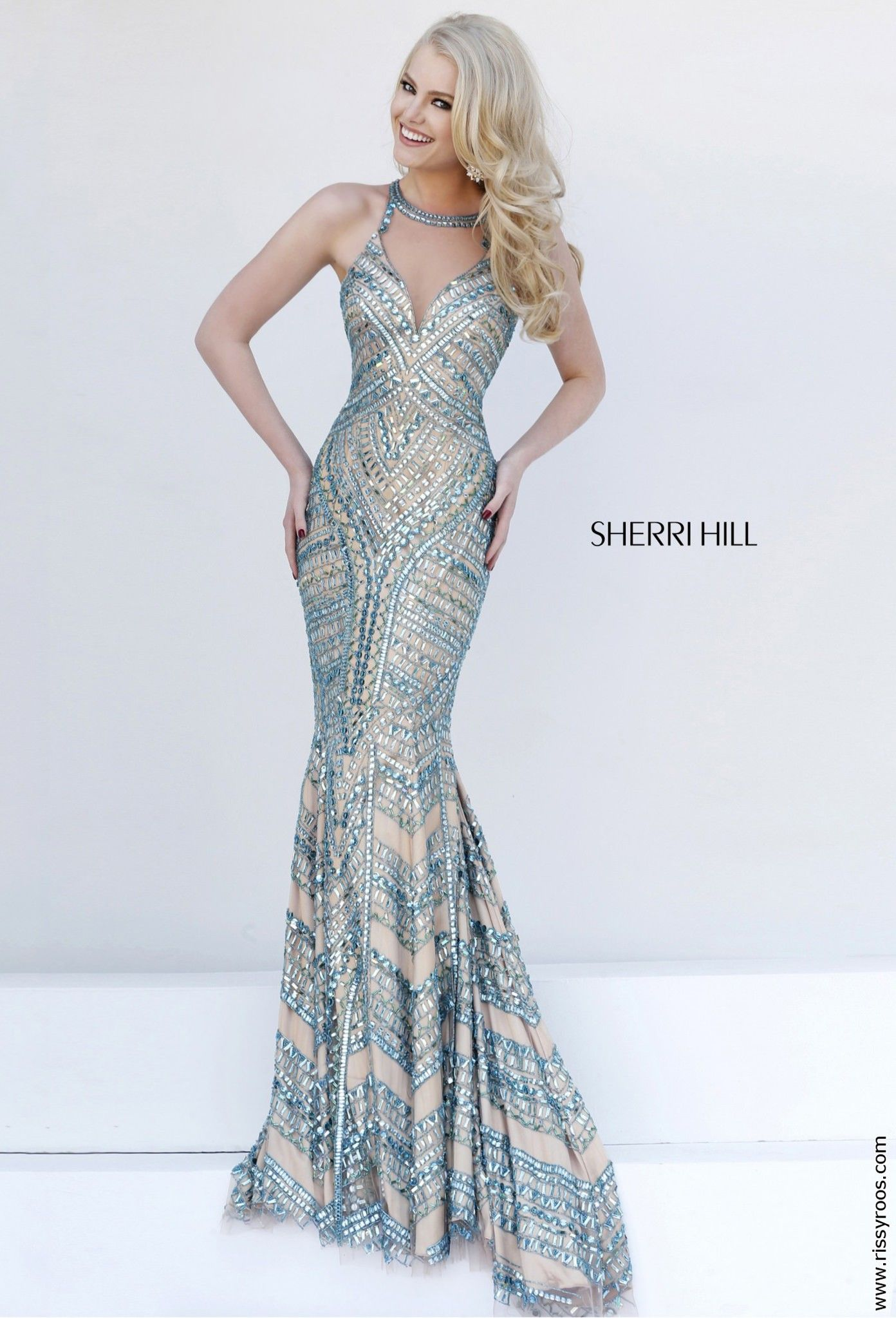 3575282163e Sherri Hill 1959 Jade Fitted Crystal Beaded Trumpet Gown