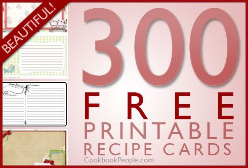 300 free printable recipe cards Literally any type of recipe card - free recipe templates