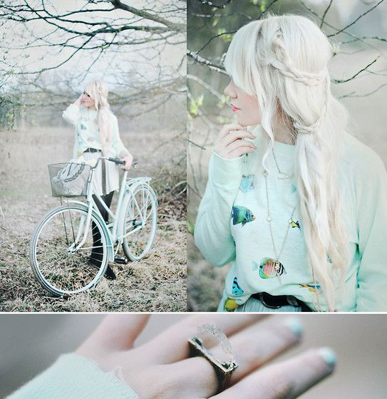 mint. mint. mint. - Wildfox Couture Sweater, Ringsand Tings Crystal Ring, H&M Skirt - (by Kerti P.)