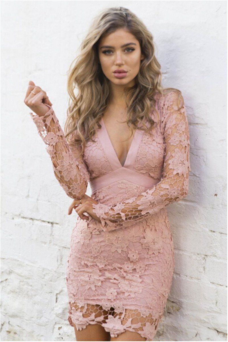 Deep vneck long sleeve floral backless lace mini bodycon dress with