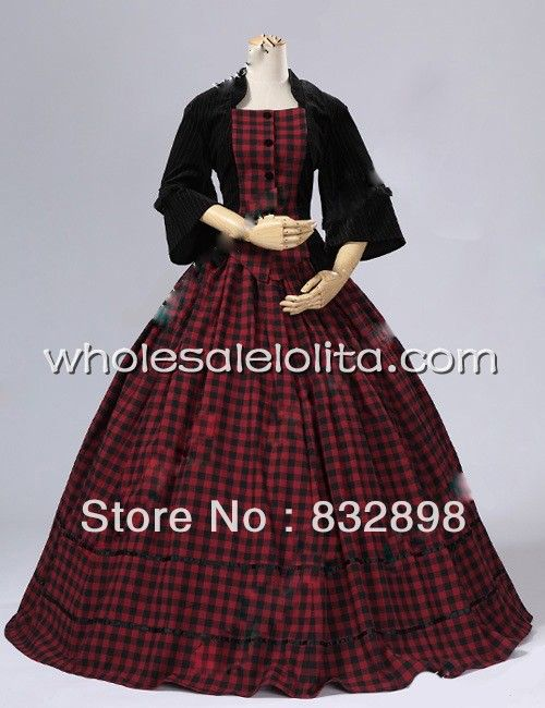 Civil War Victorian Velvet Tartan Ball Gown Dress-in Dresses from ...