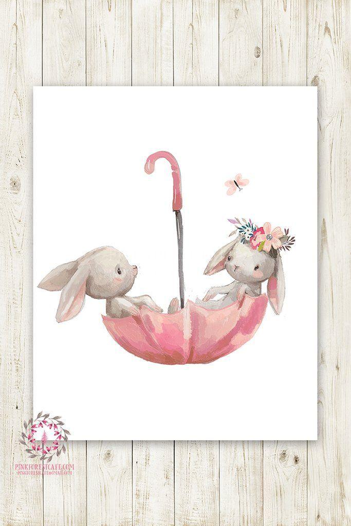 Umbrella Bunnies Bunny Rabbit Boho Girl Nursery Wall Art Print Baby