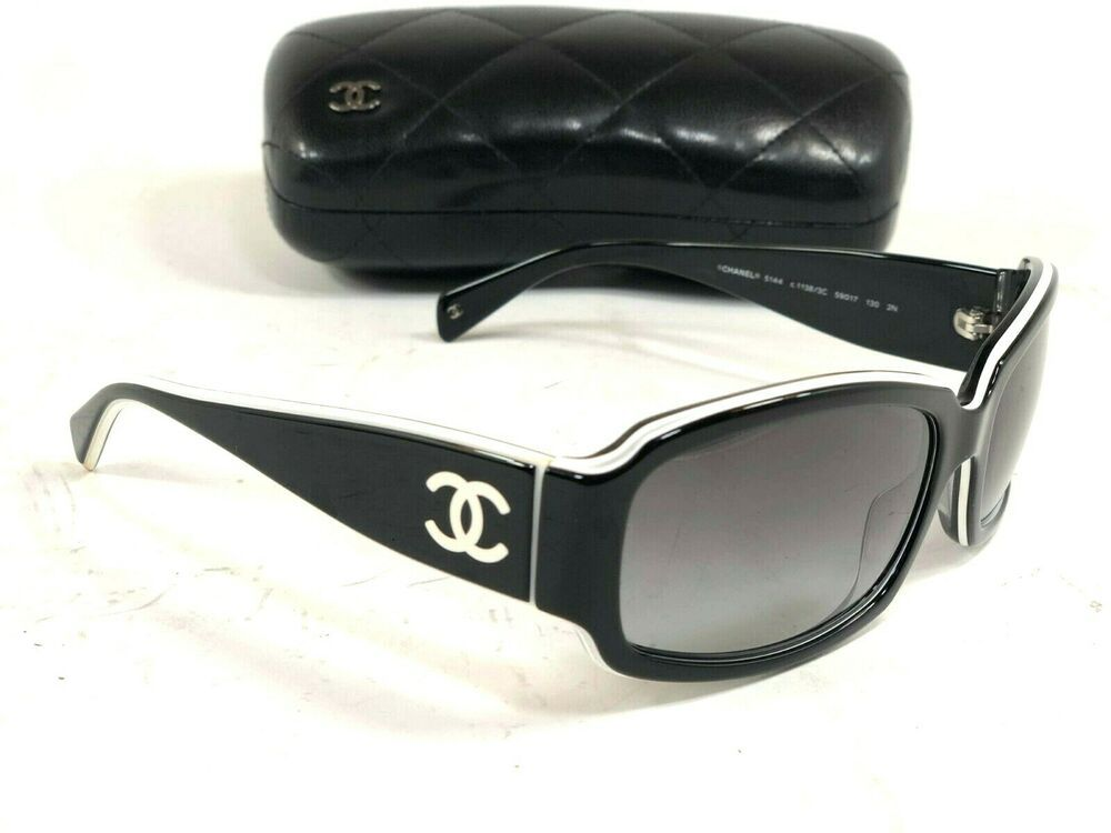 ac2fc7d8db1 Chanel 5144 c.1138 3C Sunglasses Large Round Black White CC Cambon Logo 130   fashion  clothing  shoes  accessories  womensaccessories ...