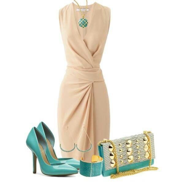 4fd85344967 Cream dress turquoise accessories