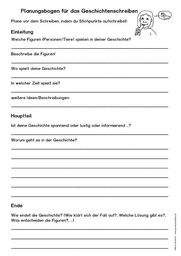 Geschichten schreiben (kostenloses Arbeitsblatt) | Schule ...